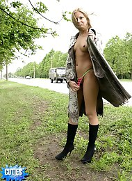 Fur coat and panties  nice hitchhikers outfit!