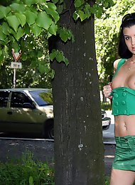 Tiny brunette with hot body tries public nudity